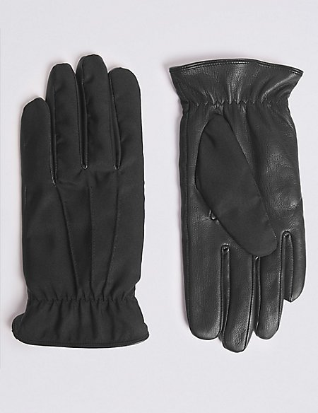 Fabric & Leather Mix Gloves