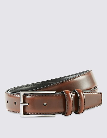 Coated Leather Double Keeper Belt