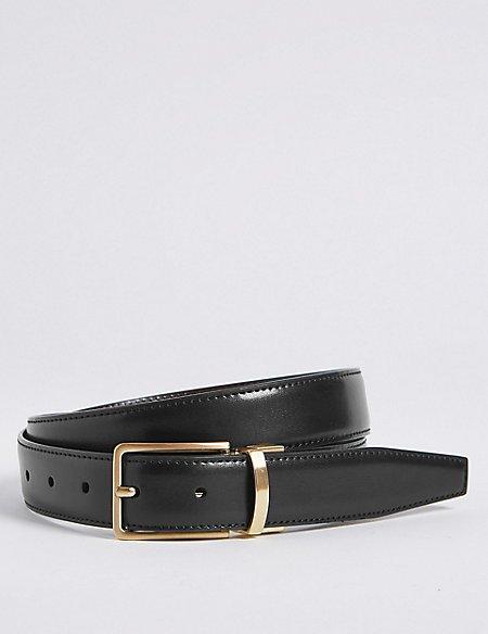 Antique Gold Leather Reversible Belt
