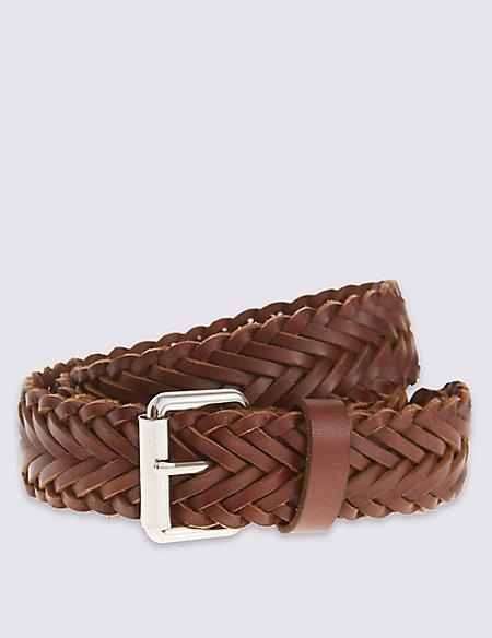 Leather Plaited Square Buckle Belt