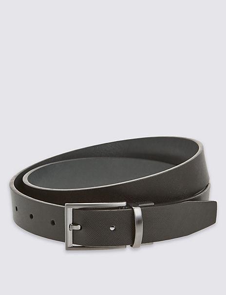 Textured Leather Reversible Belt