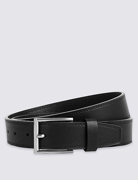 Twin Stitch Faux Leather Belt