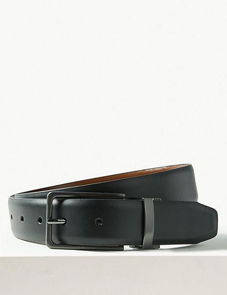 Leather Rectangular Buckle Reversible Belt
