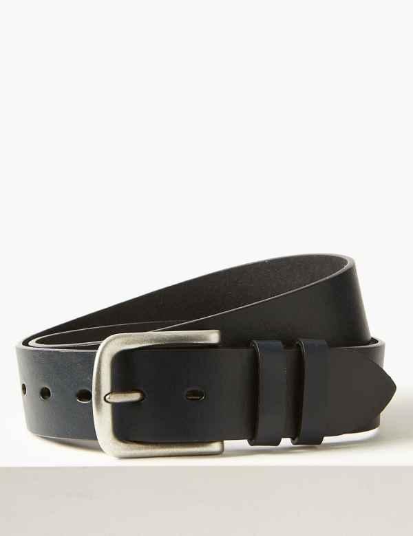 cabc35faf727 Leather Rectangular Buckle Denim Belt