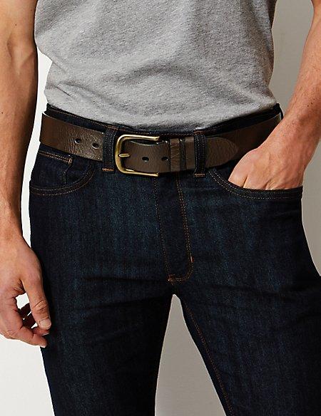 Leather Rectangular Buckle Denim Belt