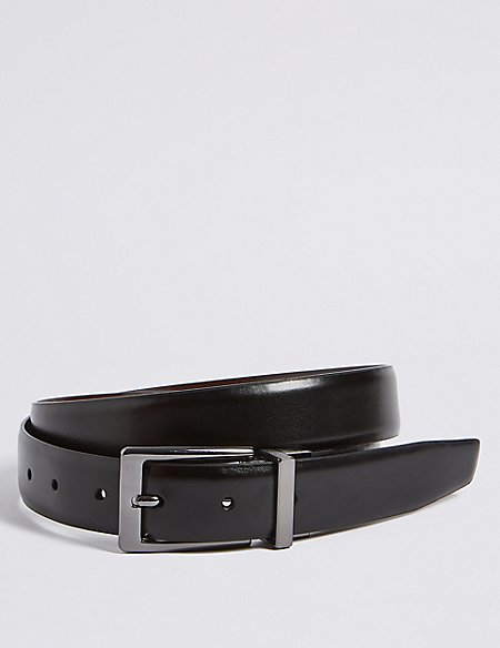 Coated Leather Buckle Reversible Belt