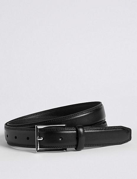 High Shine Leather Buckle Belt