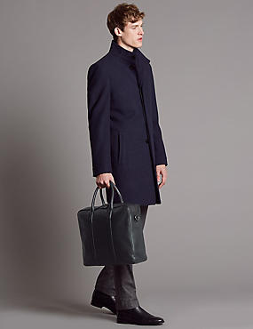 Pebble Grain Leather Double Zip Briefcase