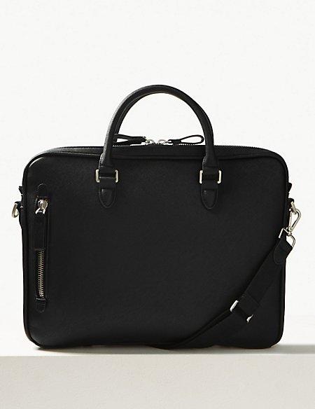 Textured Saffiano Slim Briefcase
