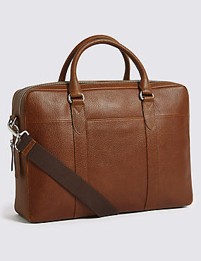 Pebble Grain Leather Double Zip Briefcase
