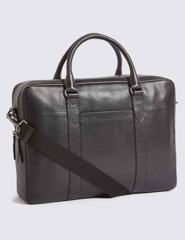 63a0ccc7832a Pebble Grain Leather Double Zip Briefcase