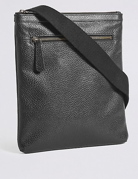 Pebble Grain Leather Slim Cross Body Bag