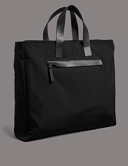 Multifunctional Document Bag with Leather Trim