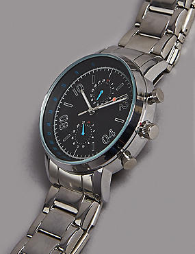 Stainless Steel Round Face Watch