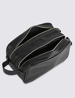 Textured Saffiano Double Zip Washbag