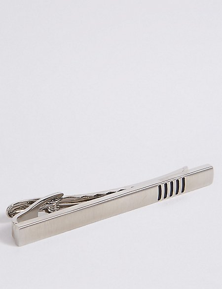 Tie Clip with Black Stripe