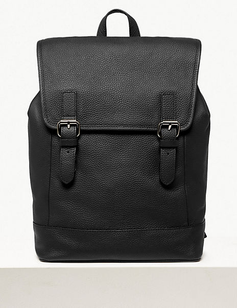 Black Leather Buckle Backpack