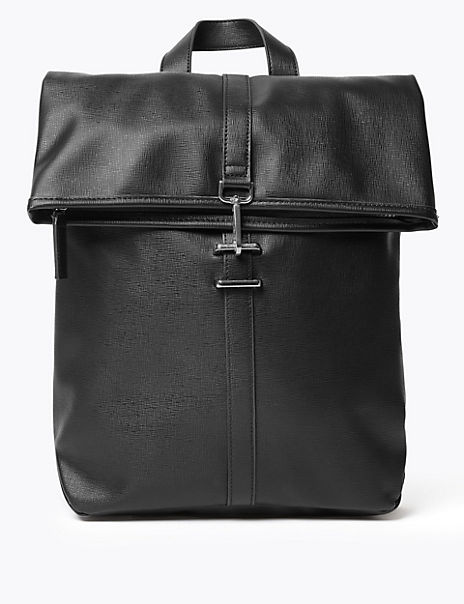 Saffiano Fold Over Backpack