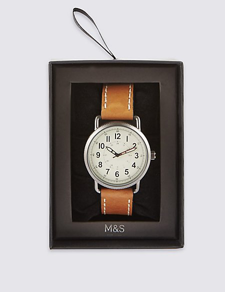 Round Face Tan Strap Watch