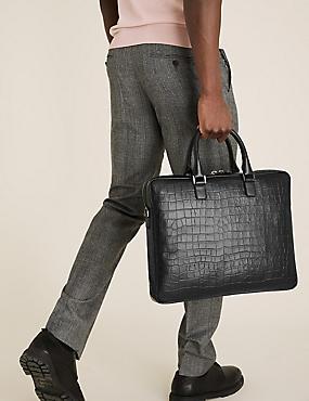 Mock Croc Leather Laptop Bag
