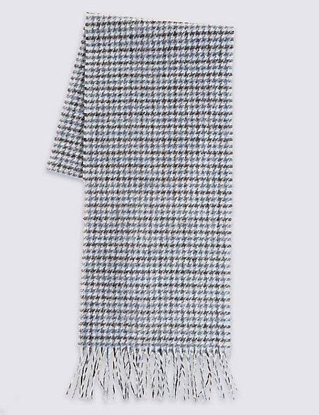 Pure Wool Dogs Tooth Lambswool Scarf