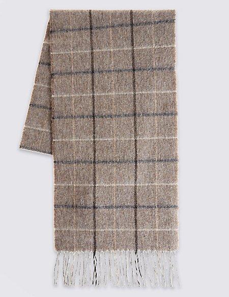 Pure Wool Windowpane Checked Scarf