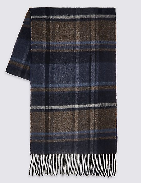 Pure Wool Checked Scarf