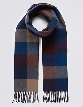 Pure Merino Wool Checked Scarf