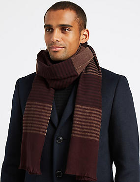 Striped Scarf with Wool, RUM, catlanding