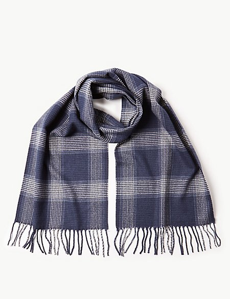 Checked Scarf with wool