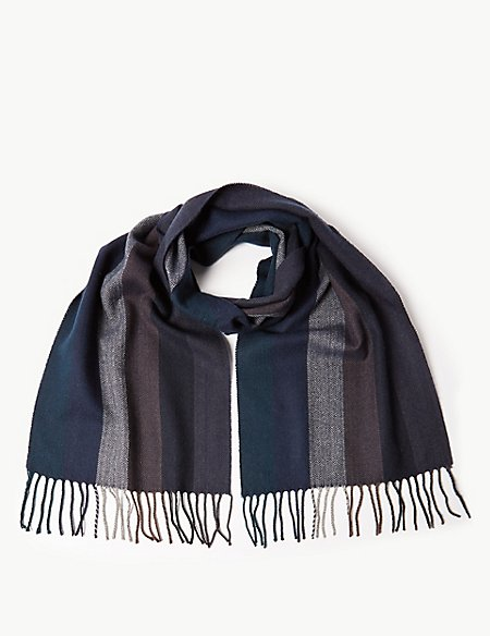 Vertical Herringbone Scarf with Wool