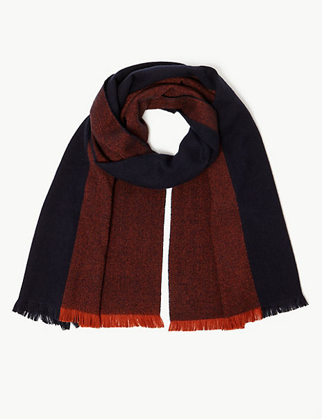 Textured Colour Block Blanket Scarf
