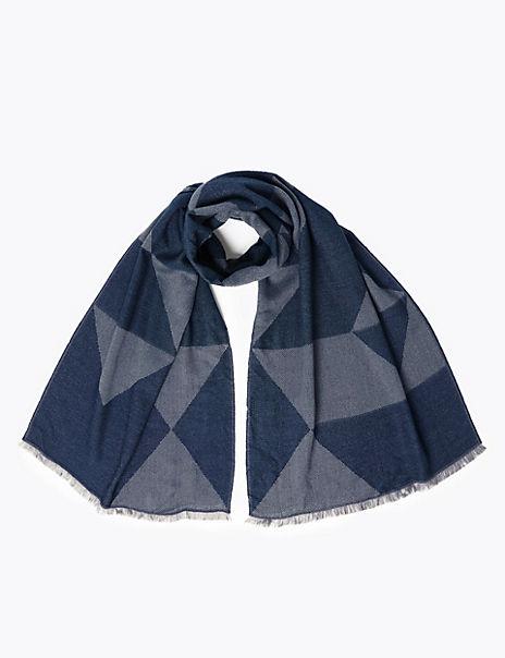 Jacquard Diamond Design Blanket Scarf