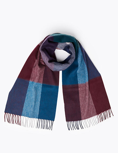 Merino Wool Checked Scarf