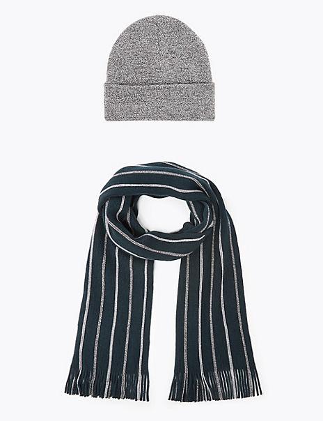 Striped Raschel Hat & Scarf Set