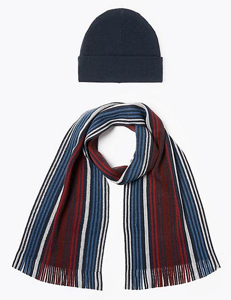 Striped Hat & Scarf Set