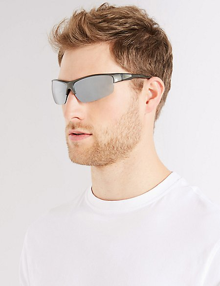 Half Rim Sports Wrap Sunglasses