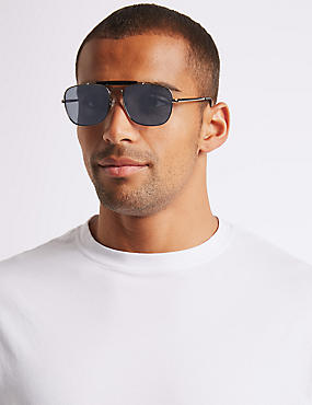 Polarised Slim Aviator Brow Bar Sunglasses