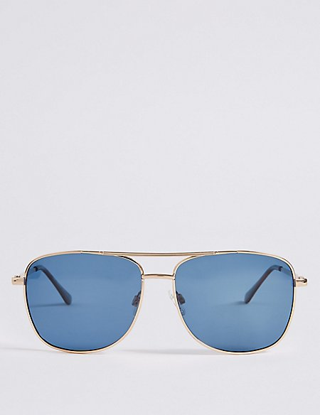 Polarised Slim Aviator Navy Lens Sunglasses