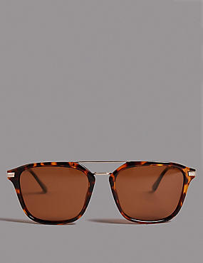 Polarised Square Brow Bar Sunglasses