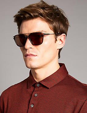 Polarised Square Brow Bar Sunglasses