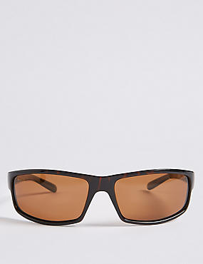 Polarised Rectangular Wrap Sunglasses