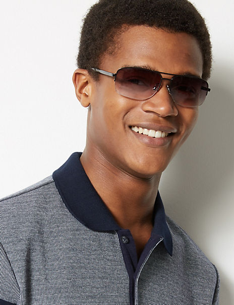 Double Bridge Rectangular Sunglasses