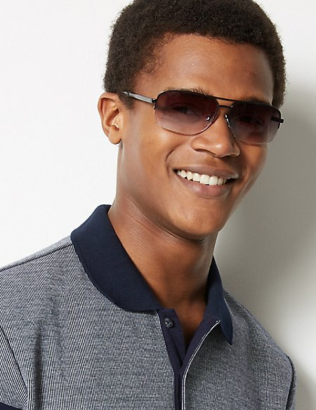 Double Bridge Rectangular Sunglasses