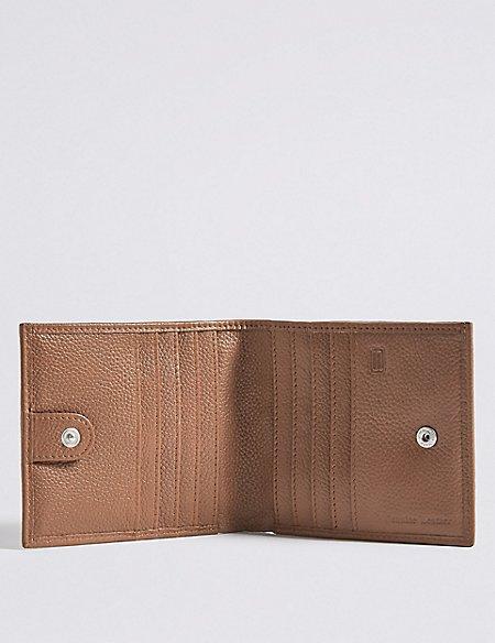 Leather Slim Popper Bi Fold Wallet with Cardsafe™