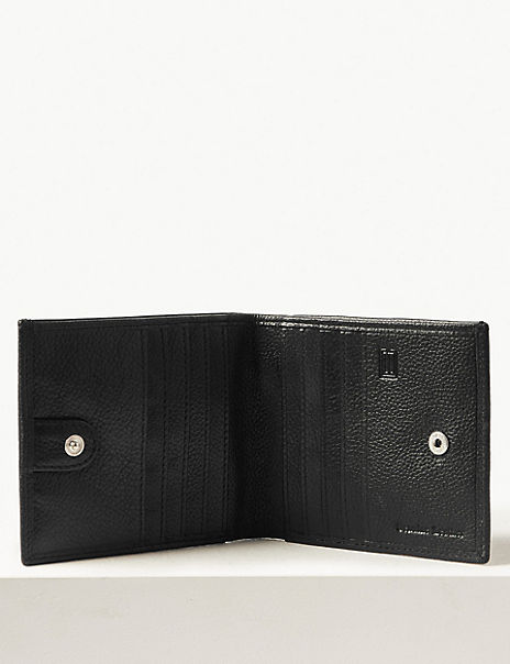Leather Slim Popper Bi-fold Wallet with Cardsafe™