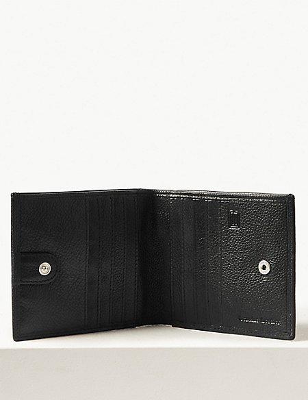 Leather Slim Popper Bi-fold Wallet with Cardsafe™