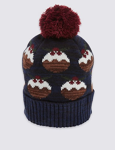 Christmas Pudding Beanie Hat Ms Collection Ms
