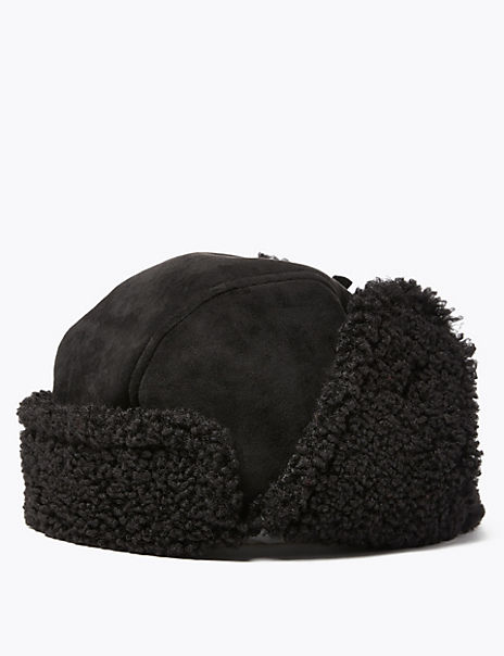Faux Shearling Trapper Hat