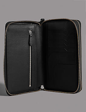 Leather Double Travel Wallet with Cardsafe™